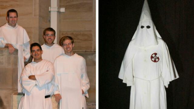 Un calugar dominican, confundat cu un membru Ku Klux Klan, intr-un campus universitar. \