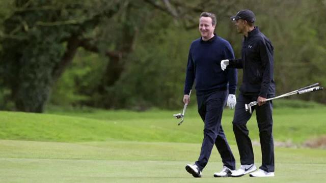 Obama Cameron golf