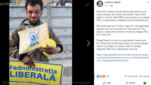 """Ludovic Orban: """"Un domn sărman a fost plătit cu 3 lei de PSD, să pozeze cu un steag PNL"""""""