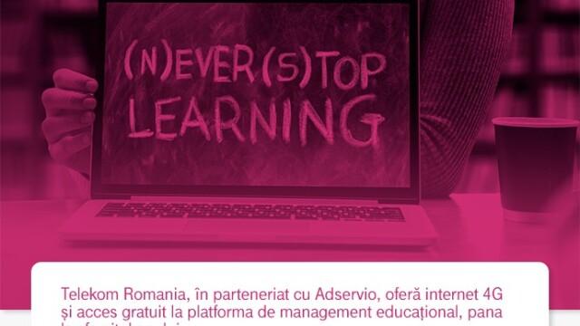 Telekom Romania oferă internet 4G și licențe de acces în platforma educațională Adservio