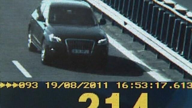 Sofer surprins de radar conducand cu 214 km/h, pe Autostrada Soarelui