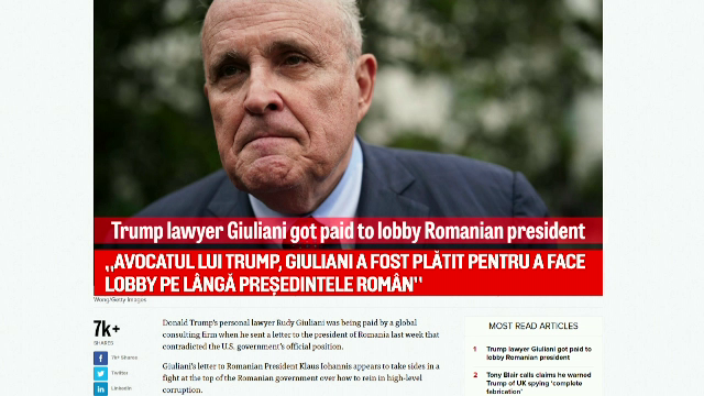 Rudolph Giuliani a recunoscut că a primit bani pentru a scrie scrisoarea către Iohannis