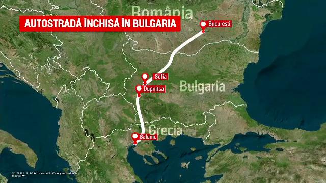 Foc pe autostrada din BUlgaria