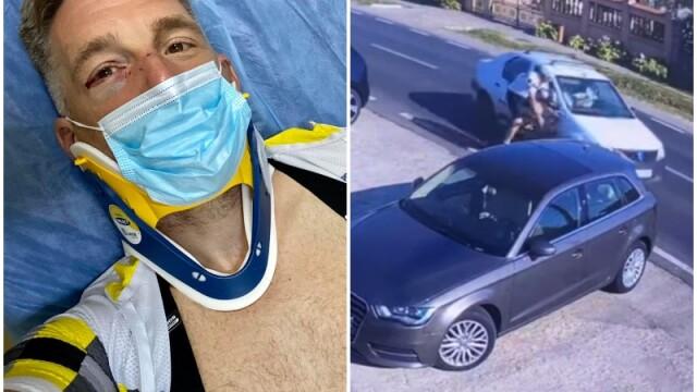 Momentul în care pilotul de raliuri Alex Filip este lovit intenționat de un șofer în timp ce e pe bicicletă