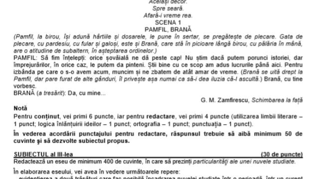 BAC 2020 sesiunea toamnă. Subiecte și Barem de la Limba română Bacalaureat 2020 - Imaginea 3
