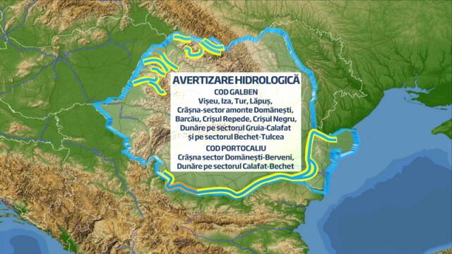 Avertizare cod galben si portocaliu pe Dunare