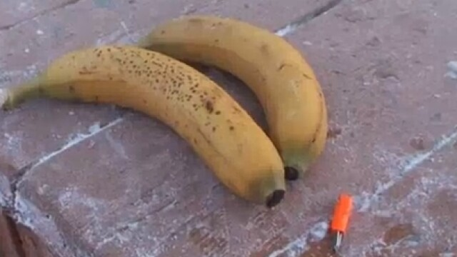 VIDEO. Foarte tare, la propriu. Ce poti sa faci cu o banana, la -52 de grade Celsius