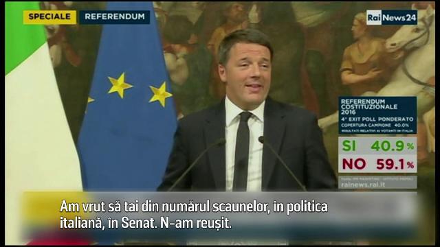 Presedintele Italiei i-a cerut premierului Renzi sa-si amane demisia pana ce Parlamentul va vota bugetul pe 2017