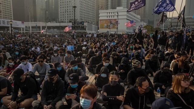 Violențe în Hong Kong, după o manifestaţie în sprijinul uigurilor din China - Imaginea 6