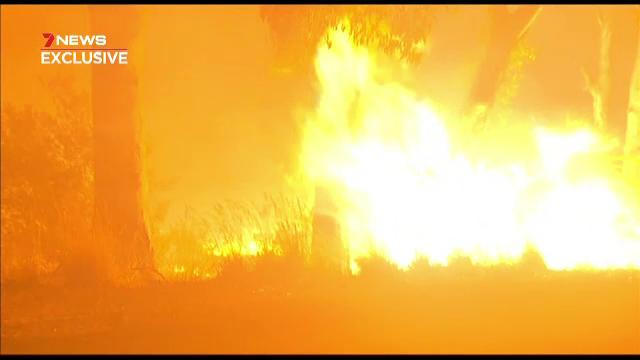 Gestul făcut de o femeie care s-a răsturnat cu mașina în mijlocul unui incendiu devastator
