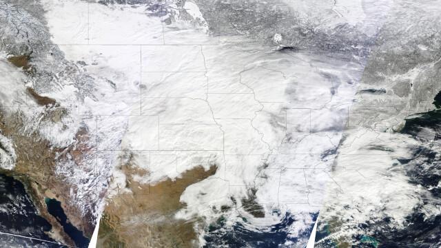 Cea mai puternica furtuna de zapada vazuta din spatiu. Imagini incredibile - Imaginea 2