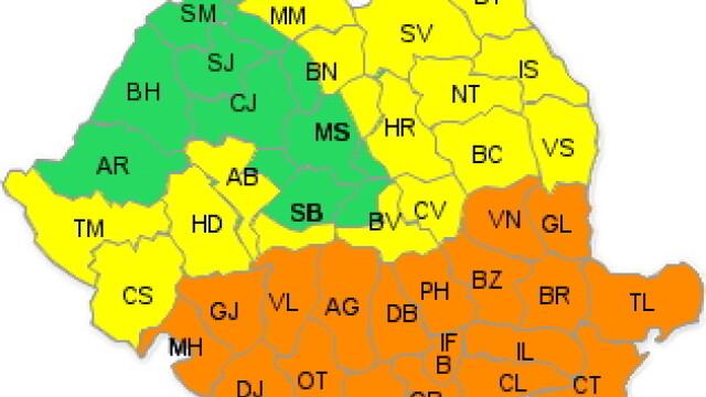 COD PORTOCALIU in vigoare in Bucuresti si 19 judete si cod galben in 17 judete, pana miercuri