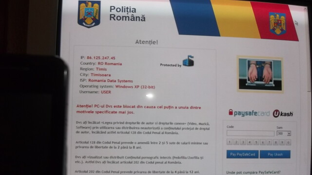 "Virusul ""Politia Romana"" face ravagii pe internet. Va cere bani si va blocheaza calculatorul - Imaginea 1"