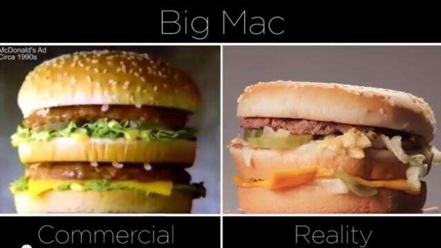 Diferenta dintre reclame si realitate. Cum arata un Big Mac la televizor si ce primim in farfurie