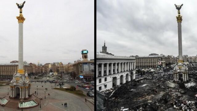 INAINTE SI DUPA. Piata Indepedentei din Kiev, in imagini tulburatoare. \
