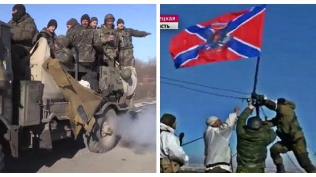 Steagul Novorusiei, arborat la Debalteve dupa retragerea soldatilor ucraineni. Putin acuza SUA ca inarmeaza deja Ucraina