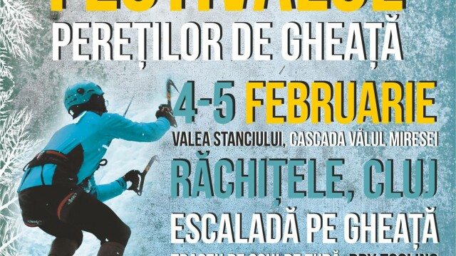 Escalada pe stanci inghetate in judetul Cluj. Festivalul peretilor de gheata are loc in weekend la Cascada Valul Miresei - Imaginea 3