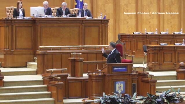 Klaus Iohannis, Liviu Dragnea, Calin Popescu Tariceanu in Parlament