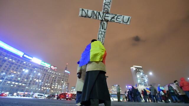 A 14-a zi consecutiva de proteste in Capitala. Cateva sute de persoane au protestat in fata Guvernului. \