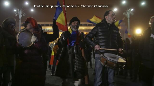Proteste in Piata Victoriei, ziua 23: 100 de persoane au scandat impotriva Guvernului. Manifestatie si la Cotroceni