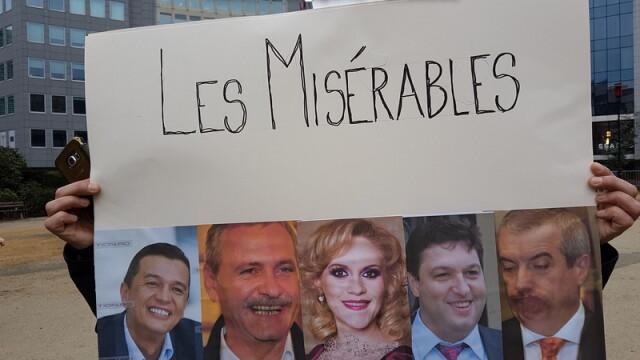 Un grup de romani a protestat la Bruxelles in timpul vizitei premierului Grindeanu: \