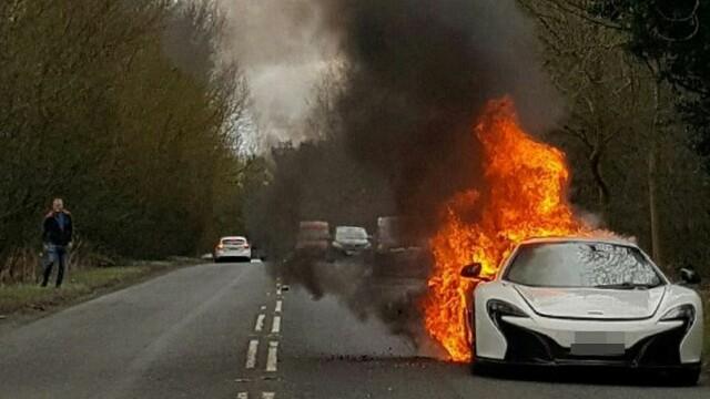 Momentul in care una dintre cele mai scumpe masini din lume este cuprinsa de flacari. Cum a reusit soferita sa scape. FOTO