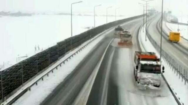 Cum s-a făcut deszăpezirea pe Autostrada Timișoara – Arad – Nădlac. Video