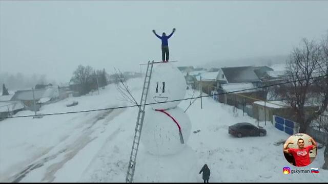 Concurs pentru cel mai mare om de zăpadă în Rusia. Imaginile trimise