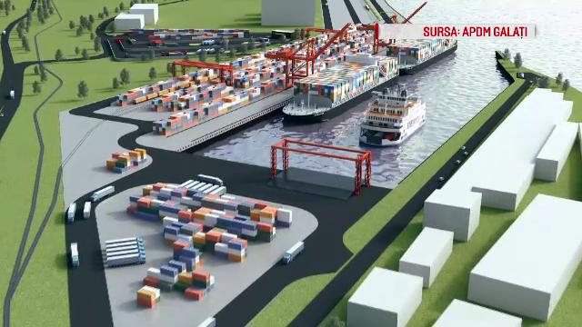 Primul port la Dunăre din România capabil să preia containere va fi construit la Galați