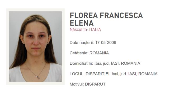 Fată de 13 ani, dispărută în Iași. A plecat de acasă în urmă cu o săptămână