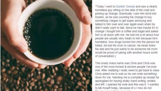 I-a cumparat o cafea unui cersetor si l-a ascultat, iar la final el i-a dat un biletel. Mesajul emotionant pe care l-a scris