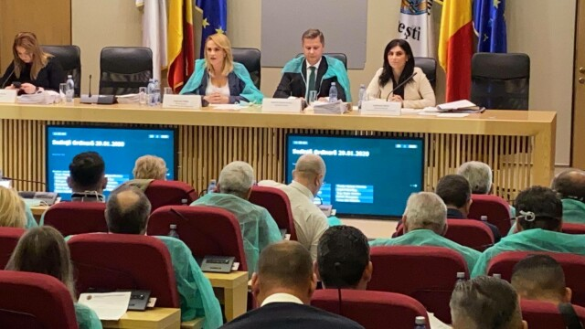 Gabriela Firea şi consilierii PSD, cu halate şi măşti de protecţie la şedinţa CGMB - Imaginea 3