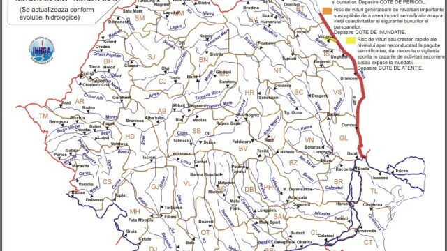 Codul rosu de inundatii de pe Prut, prelungit pana vineri