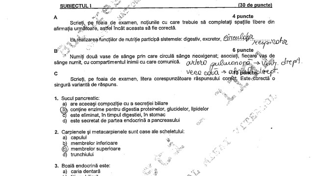 BAC 2011: SUBIECTELE LA BIOLOGIE - ANATOMIE