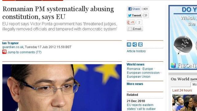 Guardian citeaza raportul Comisiei Europene: \