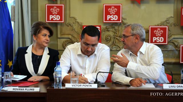 Rovana Plumb, presedintele CExN al PSD, premierul Victor Ponta (ctr.), si presedintele interimar al PSD, Liviu Dragnea (dr.), participa la sedinta Biroului Permanent National (BPN) al PSD