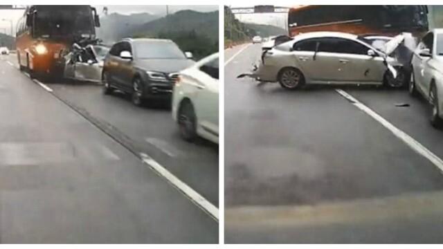 Accident infiorator in Coreea de Sud. Patru oameni au murit dupa ce un autobuz a strivit mai multe masini. VIDEO