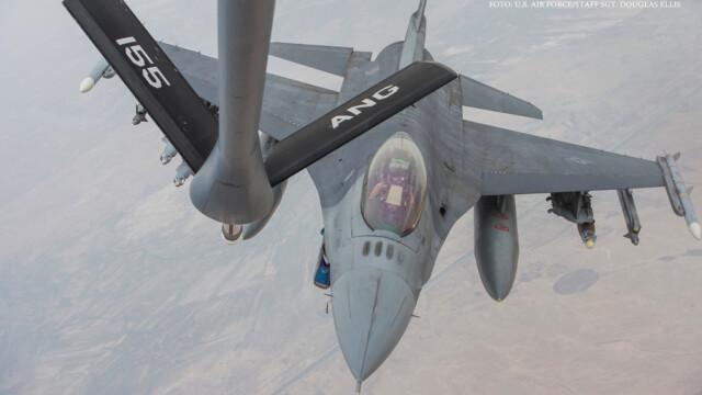 avion american F-16 Fighting Falcon vine la alimentare