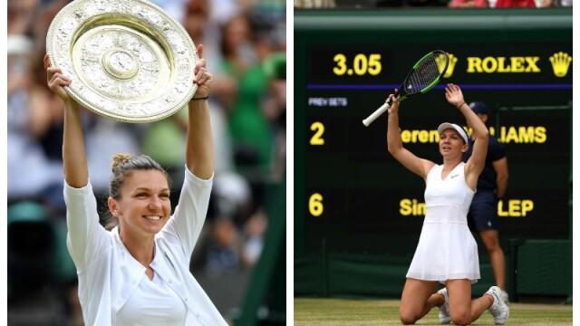 Primele imagini cu Simona Halep cu trofeul de la Wimbledon. GALERIE FOTO - Imaginea 1