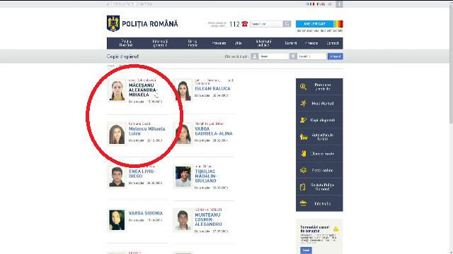 Alexandra și Luiza, pe pagina Poliției Române. Numele adolescentei de 15 ani e scris greșit