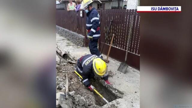 Efort intens din partea pompierilor dâmbovițeni, pentru salvarea unui câine rămas captiv