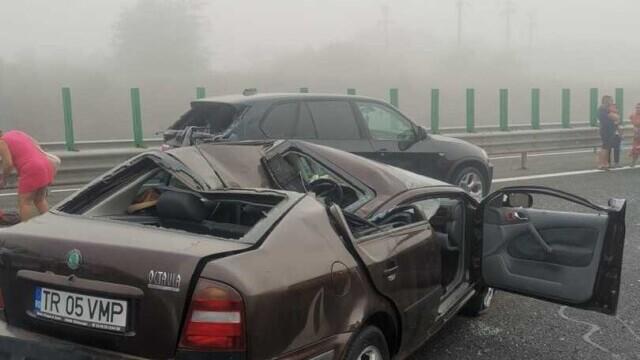 """Cauza carambolului de pe A2. Șofer: """"Mergeam cu 90 de km/h şi dintr-o dată am văzut numai lumini roşii"""" - Imaginea 4"""