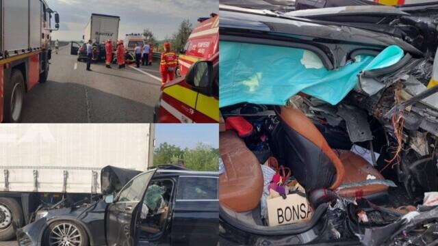 Accident mortal pe A1. O femeie a fost decapitată după ce soțul ei a intrat cu mașina sub o remorcă - Imaginea 1