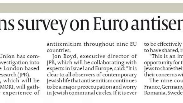 Romania, investigata pentru antisemitism. Alte 8 tari sunt in vizorul Uniunii Europene - Imaginea 1