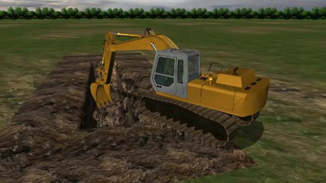 ANIMATIE GRAFICA. Muncitor blocat sub pamant, decapitat de cupa excavatorului manevrat de colegul care voia sa-l salveze