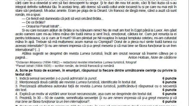 SUBIECTE Bacalaureat 2020 Română. Avem subiectele la limba și literatura română. Baremul de corectare - Imaginea 5