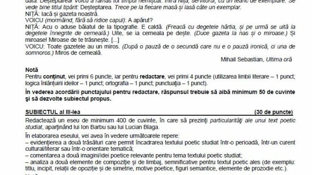 SUBIECTE Bacalaureat 2020 Română. Avem subiectele la limba și literatura română. Baremul de corectare - Imaginea 6