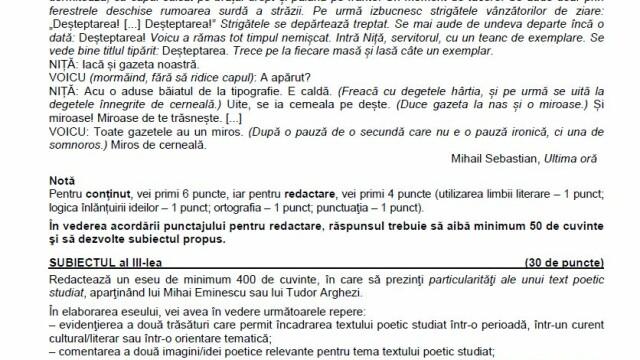 SUBIECTE Bacalaureat 2020 Română. Avem subiectele la limba și literatura română. Baremul de corectare - Imaginea 8