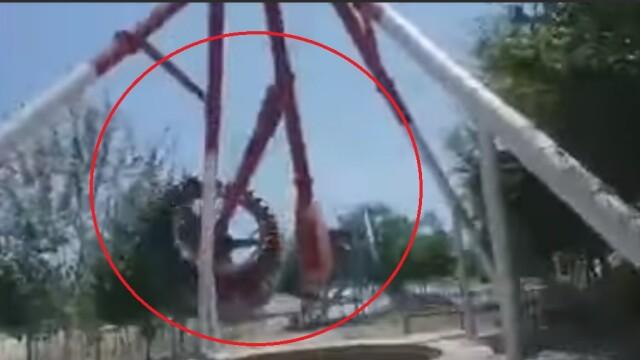 Moment șocant într-un parc de distracții, după ce un leagăn uriaș s-a prăbușit. VIDEO - Imaginea 1