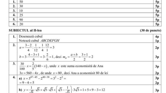 Rezolvarea subiectelor la Matematică, Evaluare Națională. Care este baremul de corectare - Imaginea 6